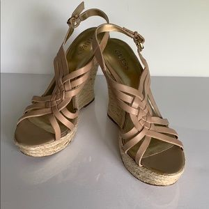 Guess Nude Leather Platform Wedge Sandal